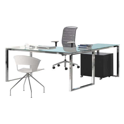 LPO office desks in glass & chrome
