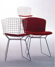 3 Bertoia wireframe chairs